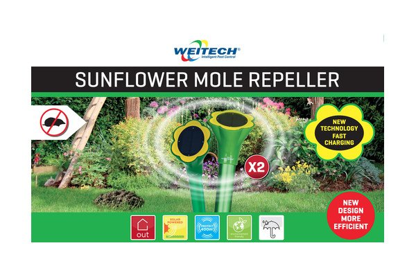 WEITECH WK2018 - Chasse-taupes tournesol (2x) solar